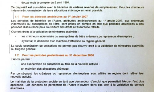 PLUS DE VALIDATION DES TRIMESTRES POUR LES BENEFICIARES DE L'ACCRE DEPUIS 2007