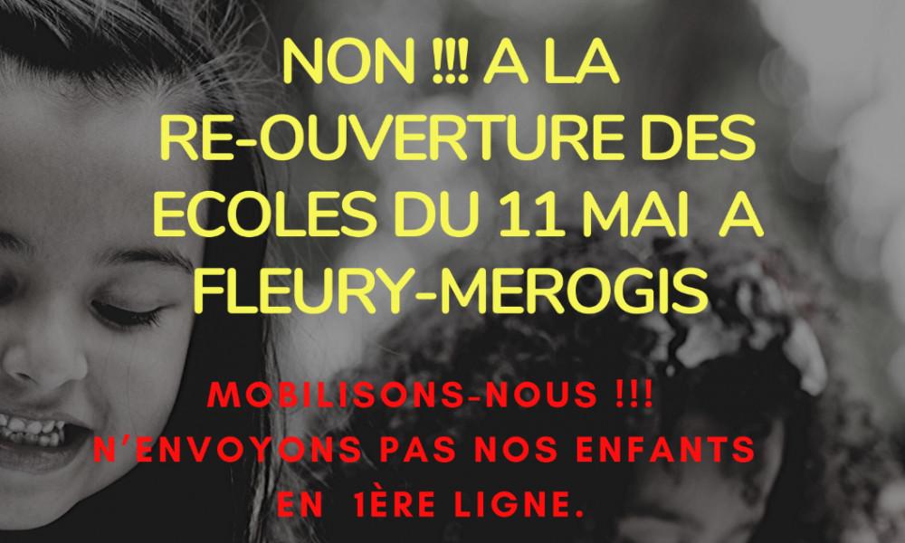 NON à la réouverture des écoles à la Fleury-Mérogis