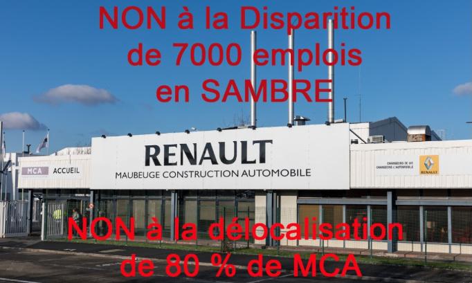 NON à la disparition de 7000 emplois en Sambre avec la délocalisation de l'assemblage de MCA vers Douai