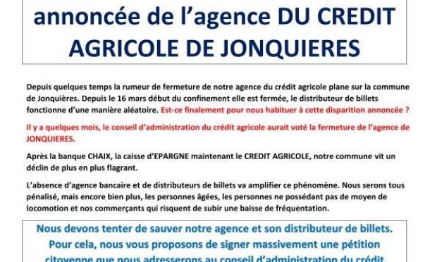 NON à la fermeture annoncée du crédit agricole de Jonquières-84150