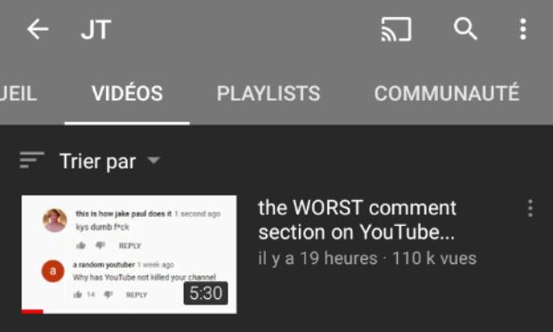 Supprimer le chaine JT de YouTube