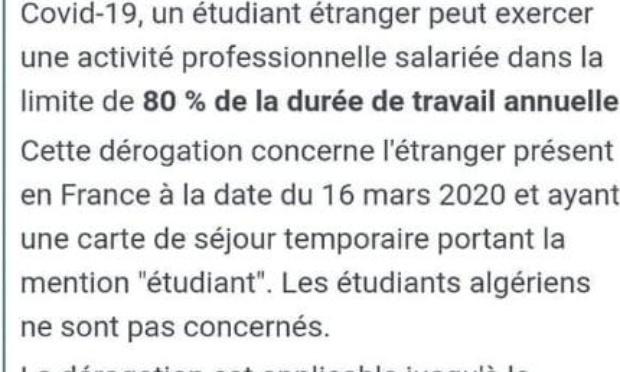 Suppression de l'autorisation de travail et des discriminations pour les étudiants algériens en France