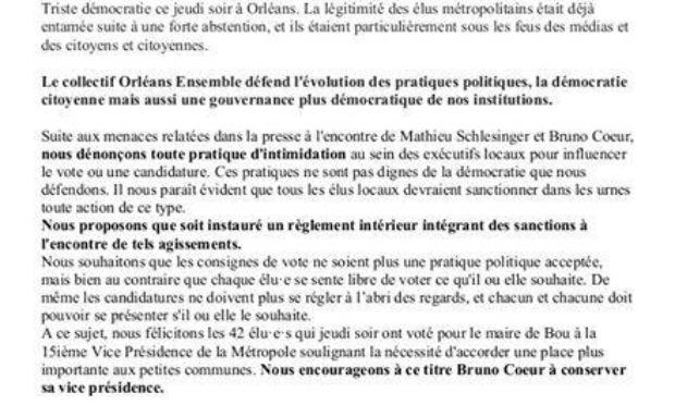 Soutien à Bruno Coeur maire de Bou à la vice-présidence d'Orléans métropole