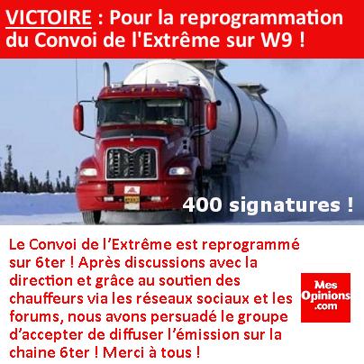 VICTOIRE : Pour la reprogrammation du Convoi de l'Extrême sur W9 !