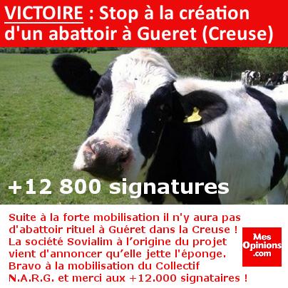 VICTOIRE : Stop à la création d'un abattoir rituel à Gueret (Creuse)