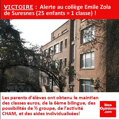 VICTOIRE : Alerte au collège Emile Zola de Suresnes (25 enfants = 1 classe) !