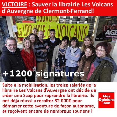 VICTOIRE : Sauver la librairie Les Volcans d'Auvergne !