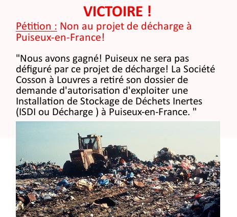 Victoire : Pas de décharge à PUISEUX-EN-FRANCE